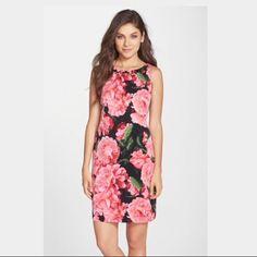 [ Eliza J ] Floral Embellished Faille Sheath Dress