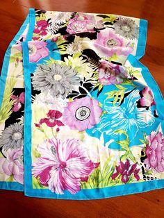Silk Cotton Scarf w Italian Fabric ~ Flowers on White ~ Pink Orange Turquoise
