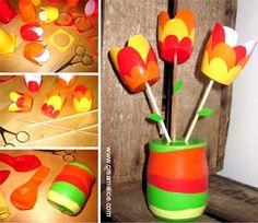 ★ ✄  DIY Bouquet Tulipes Pots Yaourts / DIY Tulips Bouquet ★ ✄   www.creamalice.com