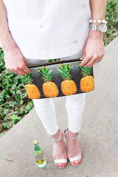A clutch is a common kind of bag: it may be worn nearly wherever and all the time appears good, no m Pineapple Express, Pineapple Print, Pineapple Clothes, Tropical Fashion, Manolo Blahnik Heels, Fruit Print, Unique Purses, Juicy Couture Bags, Summer Bags