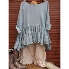 Ritanotiara 6m Fabric Romy Pure Cotton Boho Prairie Teal Pearl Tiered... ($204) ❤ liked on Polyvore featuring tops, t-shirts, grey, women's clothing, long sleeve t shirts, oversized shirt, men shirts, graphic tees and cotton shirts