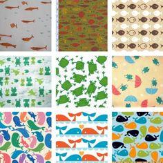 Aquatic Animal Fabrics fish fabric, frog fabric and whale fabric