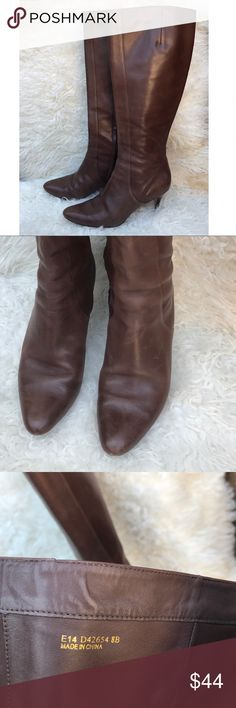 Cole Haan}• chocolate brown boots Beautiful chestnut Cole Haan boots• pre-loved and some signs of wear• please reference pictures• leather has a few minor scratches but no tears holes or stains• the half opening has some elasticity so it opens up a bit more• open to offers• perfect for fall! Cole Haan Shoes Heeled Boots