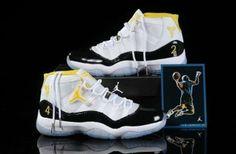 8d180b5cb18a8e Cheap Sale Air Jordan 11 XI Retro Mens Shoes For Winter Black White Yellow  Cheap Jordan