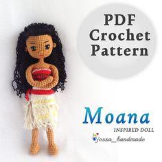 Crochet Doll Pattern Disney Moana Princess von JossaHandmadeStore