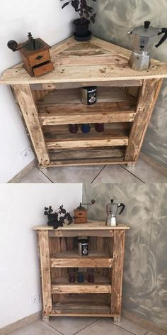 Diy Pallets Corner Cabinet Design