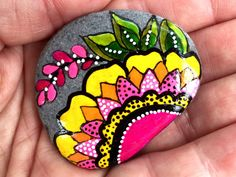 wildflower series 7 / painted rocks /painted por LoveFromCapeCod