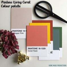 Pantone Color of the year 2019 Living Coral colour palette Home Made Productions Coral Colour Palette, Pantone Colour Palettes, House Color Palettes, Palette Art, Spring Color Palette, Coral Color, Pantone Color, Wedding Color Schemes, Colour Schemes