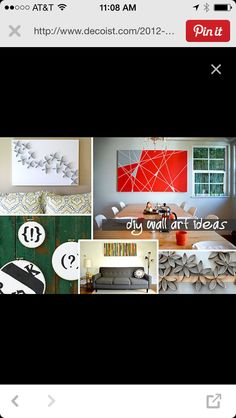 Wall hanging ideas http://www.decoist.com/2012-05-23/25-diy-wall-art-ideas/