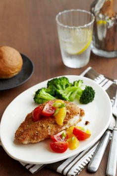Pecan-Crusted Chicken with Citrus Tomato Topping -- A delicious recipe that's ready for the dinner table in just 30 minutes time!