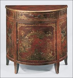 Hand Painted Half Round Cabinet With Oriental Scenes On An Antiqued Red Background