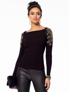 Black Embellished Shoulder Sweater @ Cache $36 LOVE