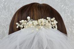 White Pearl Wedding Veil Comb