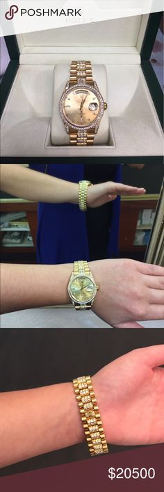 18k yellow gold Rolex with 8 carat diamonds 18k solid yellow gold genuine Rolex watch. 8 carats VS2-SI1 brilliant round diamonds. Average color H. Comes with Rolex box. Unisex. Pre-owned but new condition. Rolex Accessories Watches