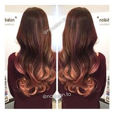 NC Salon - Downtown - Toronto, ON, Canada. Rose gold highlights caramel tone ombre balayage.