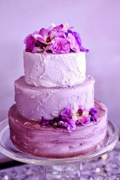 purple color wedding cake
