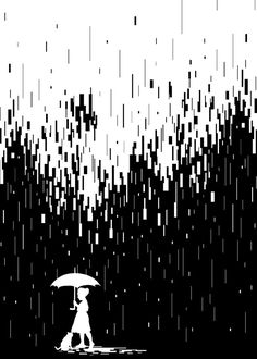 Pixel Rain Art Print by Steven Toang - X-Small Art Challenge, Art And Illustration, Dark Wallpaper, Wallpaper Backgrounds, Black Paper Drawing, Rain Painting, Rain Art, Poster Prints, Art Prints