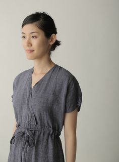 Lois Dress: Navy Plaid - Fog Linen Work