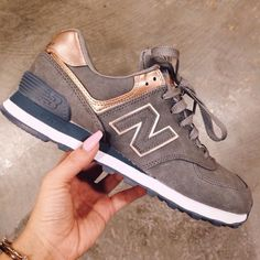 New balance grey sneakers with rose gold details