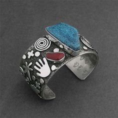 Wright's Indian Art - Native American Indian Art, Jewelry, Pottery, Kachinas, Fetishes & Sculpture > Turquoise and Coral Wide Cuff, Alex Sanchez, Bracelets Jewelry, Navajo (Diné), Wright's Indian Art