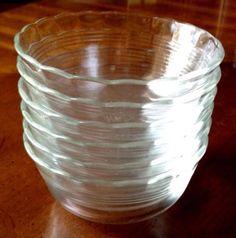 6 Vintage Pyrex Clear Glass Dessert Bowls Cups #464 300ml 10oz, Ruffled Edge #Pyrex. $15.00