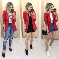 Looks com blazer vermelho Jeans and red blazer – Short mom Jeans and red blazer – Black skirt and red Blazer Outfits Casual, Cute Casual Outfits, Chic Outfits, Fall Outfits, Summer Outfits, Red Fashion Outfits, Blazer Fashion, Dress Outfits, Dresses