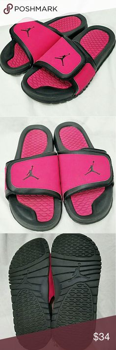 NIKE AIR JORDAN Sz 7Y = 8.5 Womens Slide Sandals Brand: Nike Air Jordan  Item: *Deep Raspberry & Black Slides Sandals (the color is much darker & deeper than I could photograph *Velcro Strap for Adjustable Fit *Size 7 Y.  Per Nike's Website 7Y = Womens 8.5 *There is Some Mild 'Smudging' From Them Rubbing Together *Otherwise Excellent Pre-Loved Condition - Only Worn a Handful of Times  *no trades, offers via offer button only* Nike Air Jordan Shoes Sandals