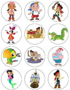 Edible JAKE and the NEVERLAND PIRATES Cupcake Toppers 12 edible images for Cupcakes, cookies, brownies or any dessert birthday. $6.00, via Etsy.