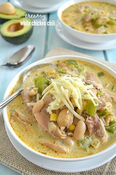 This quick white chili is the ultimate fall comfort-food! Loaded with lots of tender chicken, beans, and corn in a rich flavorful broth. (wholeandheavenlyoven)