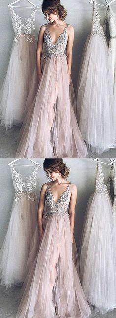 Sexy A-Line Deep V-Neck Champagne Tulle Long Prom/Evening Dress with Appliques,810907 by Dress Storm, $169.00 USD