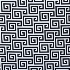 Black and White Greek Key Fabric BTY with by BellasCreativeHome