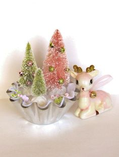 Pink bottle Brush Trees Vintage Jello Tin Christmas Decoration by CherryPrairie