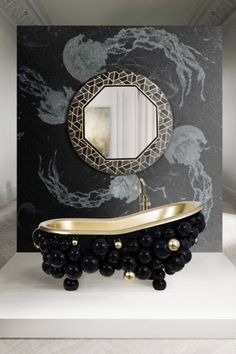 Meticulously hand painted and blended with the best and more modern digital art, this sophisticated interior wall panel conveys an underwater feeling due to its amazing dark tones and beautiful jellyfish. How can one not fall in love with it? Gold Paint, High Gloss, Design Inspiration, Bathroom Inspiration, Black Gold, Bathtub, Luxury, Shapes, In This Moment