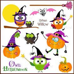 Owl Halloween  Png & Jpeg clip art images. by LittlePumpkinsPix