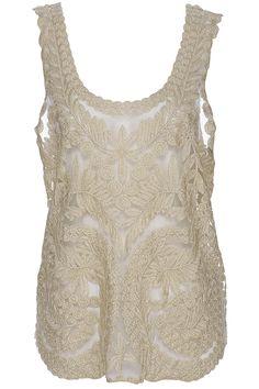 ROMWE Asymmetric Lace Leaves Spun Gold Vest
