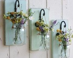 Hanging Mason Jar Wall Sconce Flower Vase Candle door TwinOakRustics
