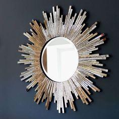 I've just found Large Burnished Sunburst Mirror. A gorgeous burnished sunburst mirror. Sunburst Wall Decor, Gold Sunburst Mirror, Sun Mirror, Mirror Mosaic, Mosaic Wall, Mosaic Glass, Funky Mirrors, Wall Mirrors, Glass Art