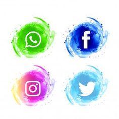 b4c72202dae5e Conjunto de iconos de acuarela de redes sociales abstractos Vector Gratis  Arte Gráfico