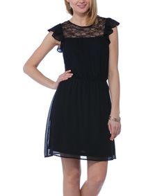 Love this Black Lace Panel Woven Flutter-Sleeve Dress on #zulily! #zulilyfinds