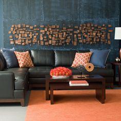 Orange interiors. Blue and orange Ethan Allen living room.