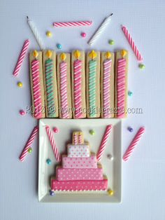 Cute birthday candle and cake cookies by CookieCrazie. Love the candles! Thank You Cookies, Fancy Cookies, Iced Cookies, Cute Cookies, Sugar Cookies, Birthday Cake Cookies, Cupcake Cookies, Cupcakes, Cookie Frosting
