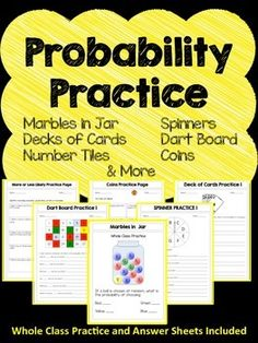 Do your students need practice with probability? This product will help your students master many different types of probability problems. Elementary Education Activities, Maths Resources, Elementary Math, Upper Elementary, Math Activities, Teacher Resources, Math Skills, Math Lessons, Math Figures