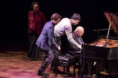 A Jazz Piano Christmas 2012 - Geri Allen watches as Taylor Eigsti, Jason Moran and Ellis Marsalis, from left, perform in a round robin at A Jazz Piano Christmas 2012.