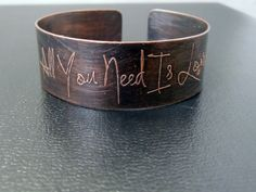 All You Need is Love copper etched cuff by KarlaWheelerDesign, $60.00