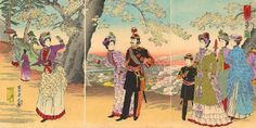 The Emperor, Empress, Crown Prince And Court Ladies In Asukayama Park