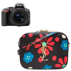 Nikon D5500 digital SLR camera in black, $750, nikonusa.com Saint Laurent flower print monogramme camera bag, $654, fwrd.com