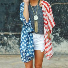 LUVCLS Summer Independence Day American Flag Printed Blouse Kimono Cardigan Women Striped Casual Long Kimono Blouse #Affiliate