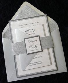 Glitter Wedding Invitation Silver Glitter by InvitingCardCreation