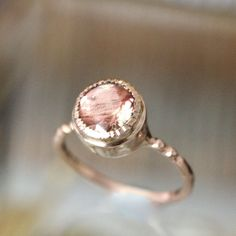 Oregon Sunstone 14K Rose Gold Ring, Engagement Ring, Gemstone Ring, Stacking Ring, Anniversary Ring, Eco Friendly - Made To Order