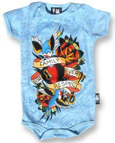 BABY ROMPER ROCKABILLY SIX BUNNIES BOY FAMILY FOREVER RESPECT TATTOO BLUE ONESIE